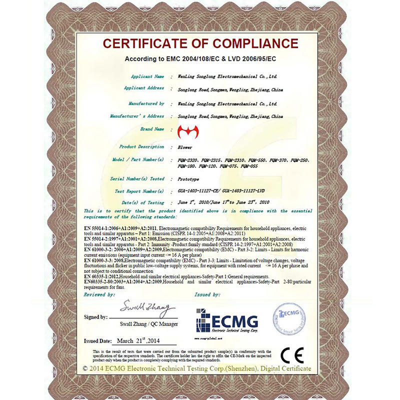 Wenling Brand Blowers CE certificate