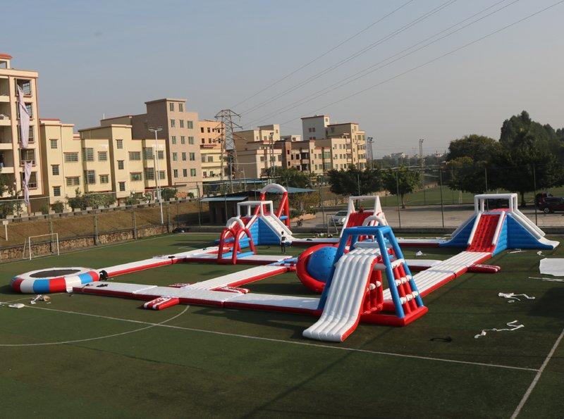 large inflatable floating water park video