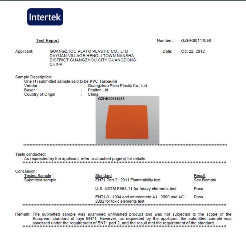 PVC Tarpaulin fireproof  Certificate meet the EN71-2 2011 stardstand