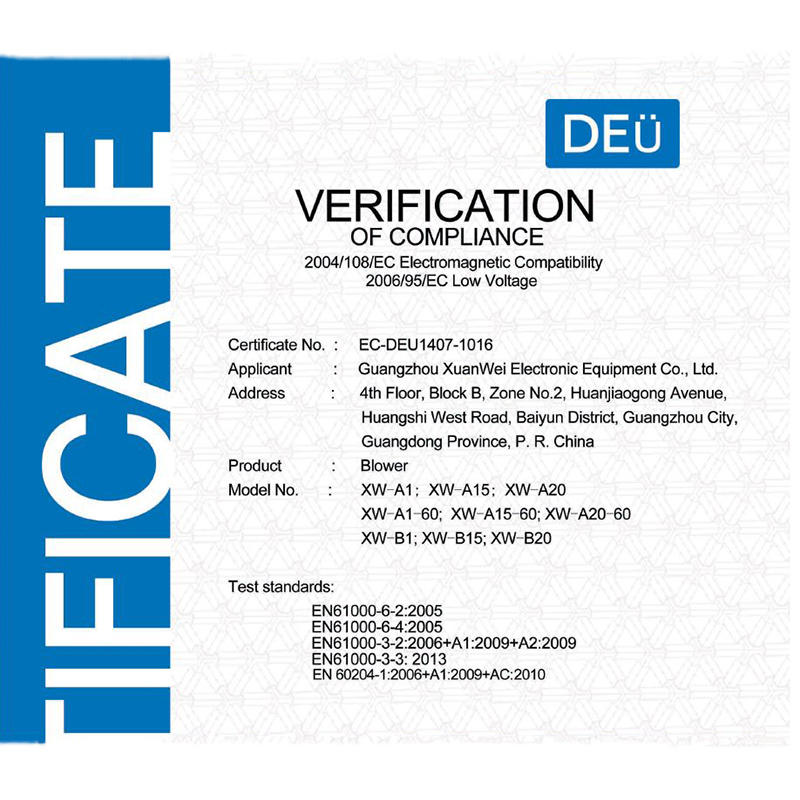 Xuanwei brand CE certificate for the blower
