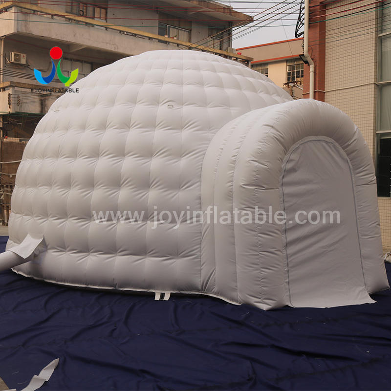 White Inflatable Igloo Dome Tent With 2 Tunnel Entrance From Inflatable Igloo Factory