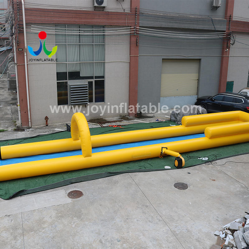 64 Meter Long Water Game Inflatable One Lane Slip With Pool