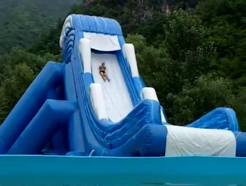 giant inflatable slide for adults with pool